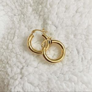 GOLD VERMEIL S925 CHUNKY SMALL HOOPS